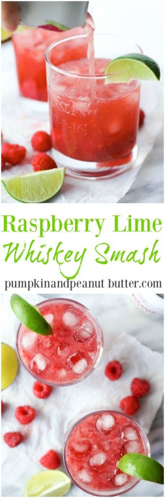 Raspberry Lime Whiskey Smash // pumpkinandpeanutbutter.com