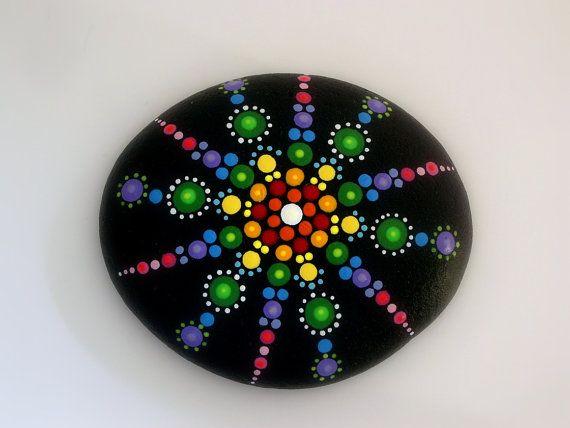 Bohemian dot art-mandala stones-rainbow- hand painted by RockArtiste on Etsy