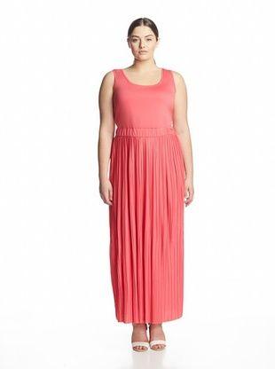 62% OFF Calvin Klein Women's Plus Pleated Maxi Dress (Watermelon)