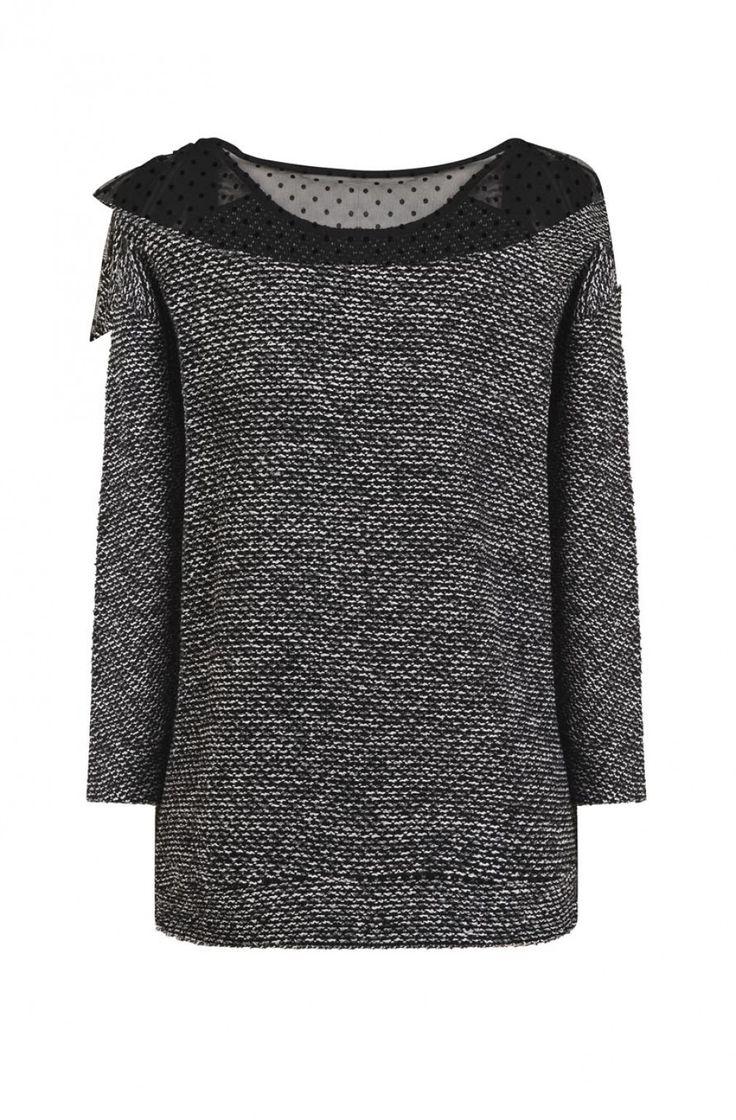 Sweat à noeud noir/blanc - tee-shirts femme - naf naf