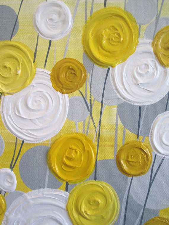 Yellow and Grey Art Textured Acrylic Painting by MurrayDesignShop