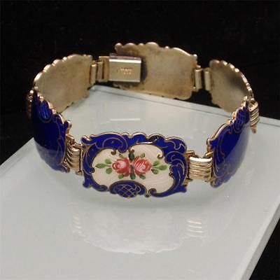 Silver-Enamel-Flower-Bracelet-Hans-Myhre-Norway-Vintage-Sterling-Ornate