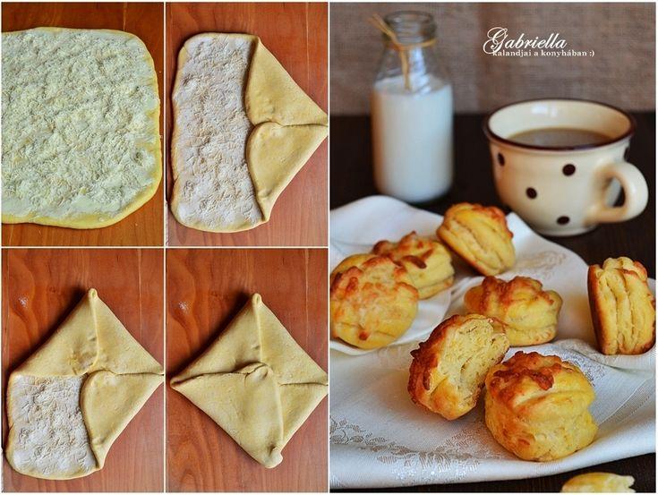Hajtogatott füstölt sajtos pogácsa - légiesen könnyű tésztával