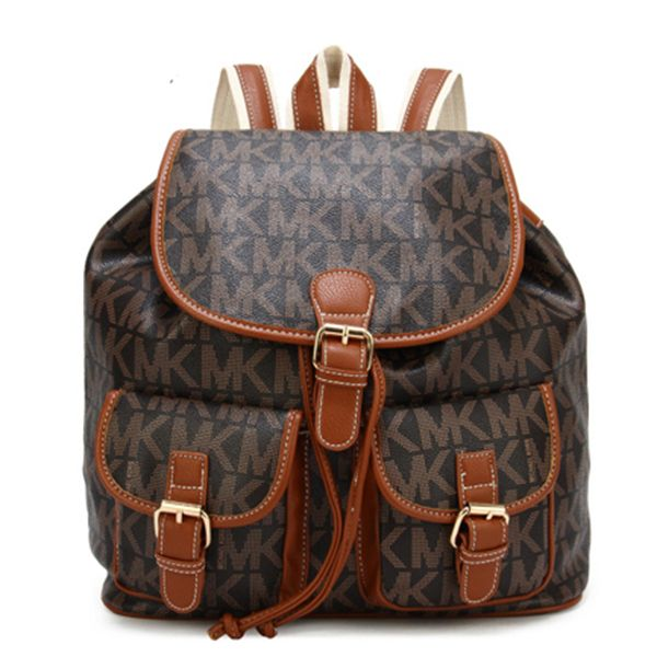 Michael Kors Jet Set Signature PVC Large Brown Backpack