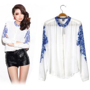 $12.00 New Women's Top Casual Blue And White Porcelain Chiffon Shirt Blouse Long Sleeve T-Shirt
