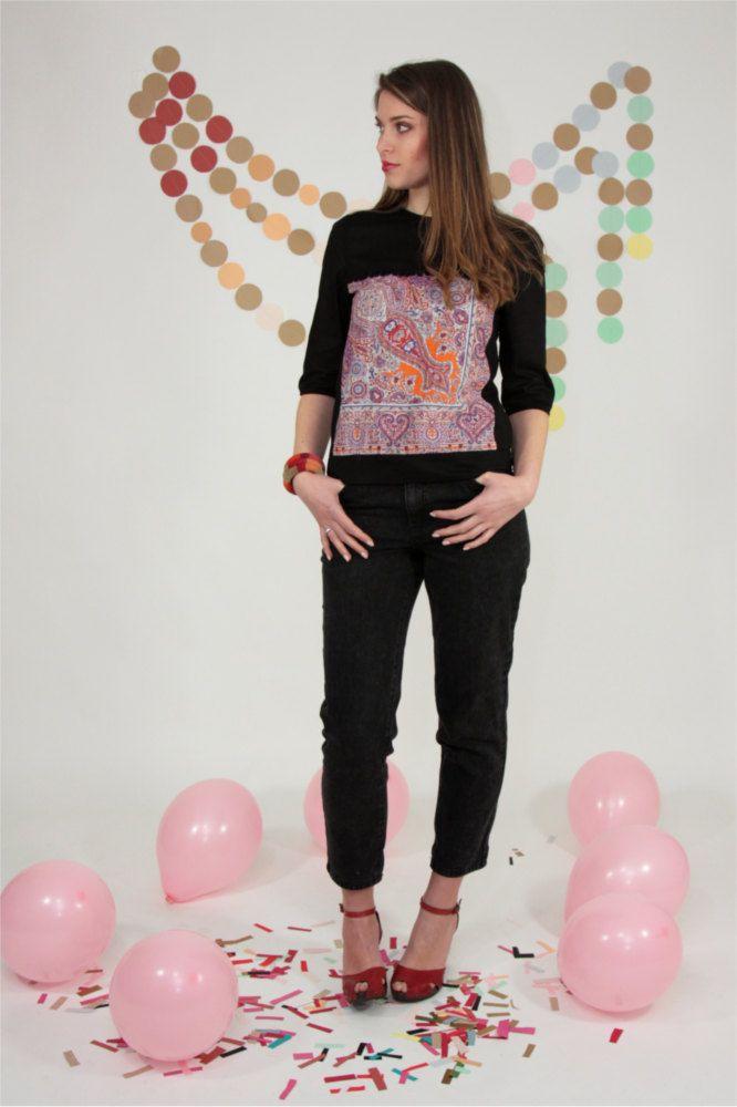 camicia, blusa in cotone nero con pannello applicato stampa India. Manica a 3/4 di Pochettecouture su Etsy