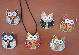 owls with nespresso capsules
