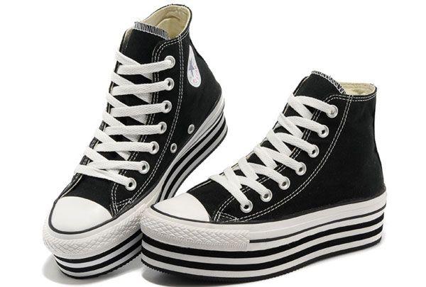 Classic Converse Super High Platform All Star Chuck Taylor High Tops Womens Black Canvas Sneakers [B13120105] - $60.00 : Designer Converse A...