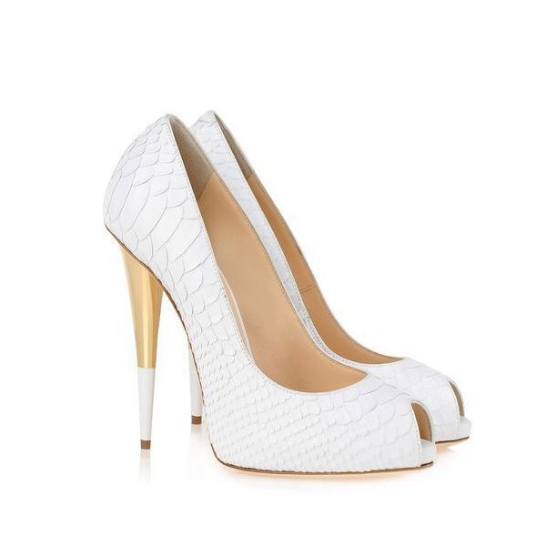 Elegant open toe soft white high heels with a touch of gold on the heel.