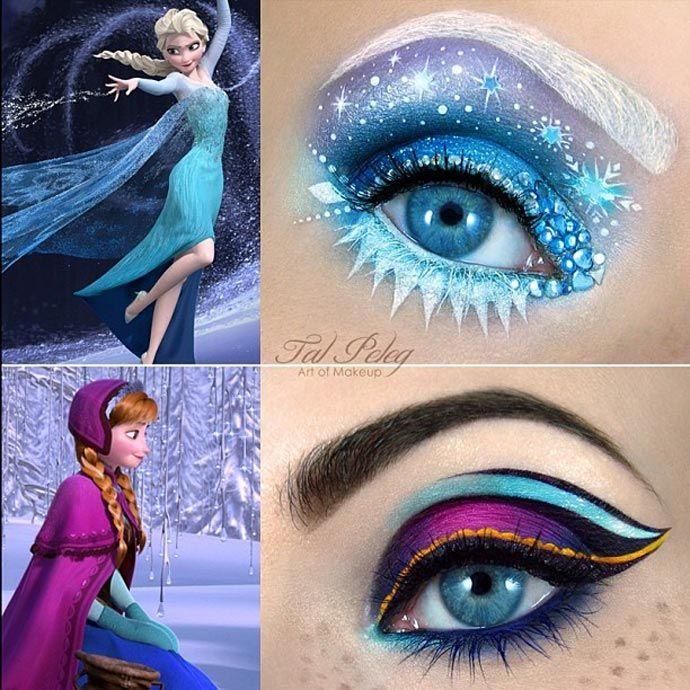 Maquiagem artística de Tal Peleg inspiração filme Frozen.