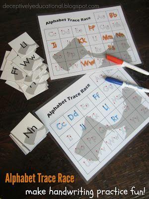 Alphabet Trace Race (free printable handwriting game)