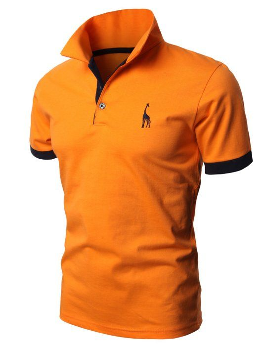 H2H Mens Classic Lightweight Giraffe Polo Shirts with Giraffe embroidery NAVY US M/Asia XL (JDSK36)
