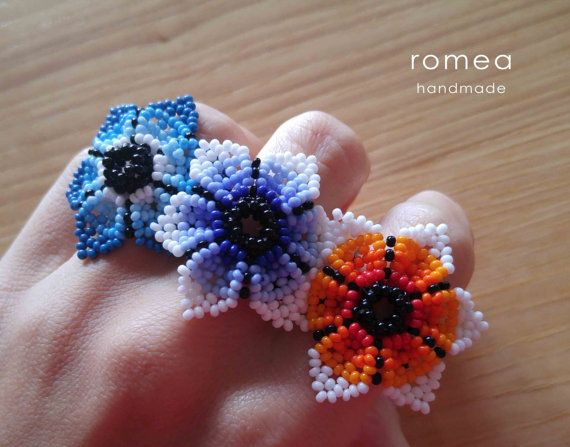 Handmade Beaded Rings  Huichol Art  Made in от RomeaAccessories