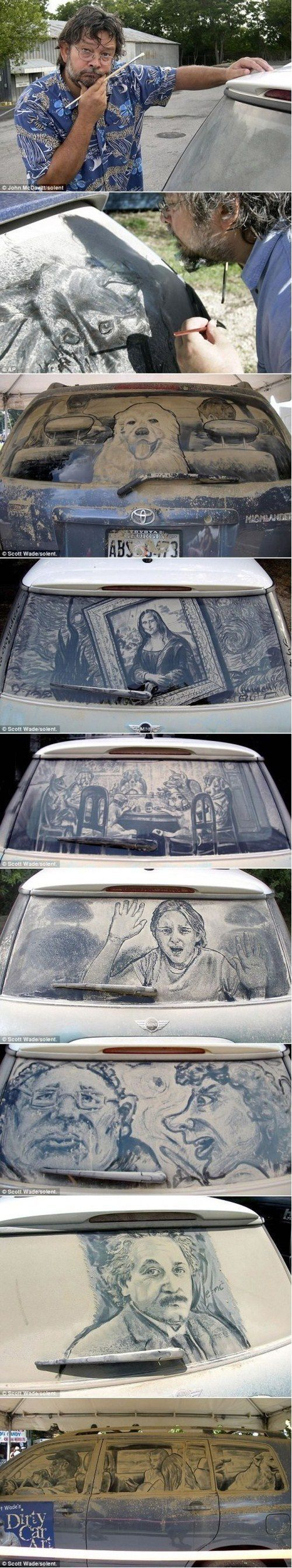 An amazing example of creating art from a natural occurrence. This dirty window art boasts originality, craft, and an underlying passion for the arts.