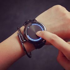 New Fashion Mens Womens LED Touch Watch Leather Band LED Quartz Watches Gift