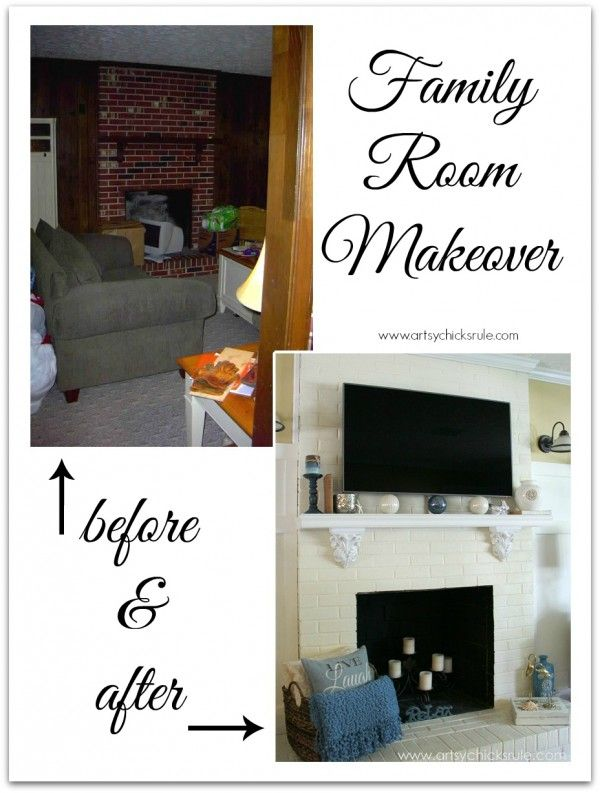 Family Room Makeover Before and After - mantel and TV - artsychicksrule.com