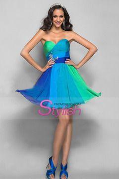 A Line/Princess Sweetheart Short/Mini Multi Color Chiffon Homecoming Dresses $ 119.99 STP9DERJSN - StylishPromDress.com