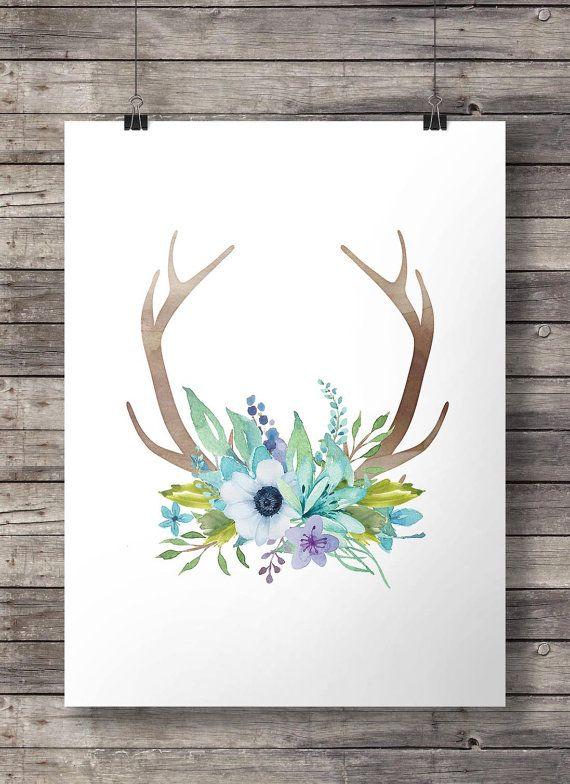 Acuarela las cornamentas y flores impresión - arte de la pared de las cornamentas para imprimir flores acuarela azul - digital
