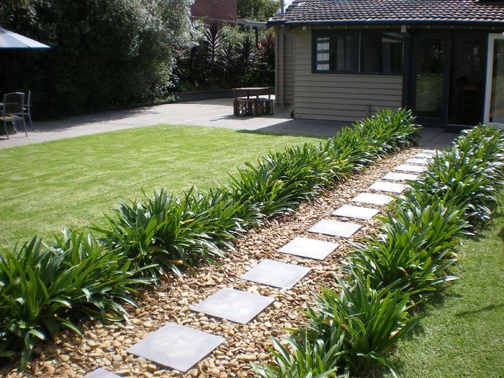 The path to the back of the house after laying pavers and pebbles (looking across the rear garden)