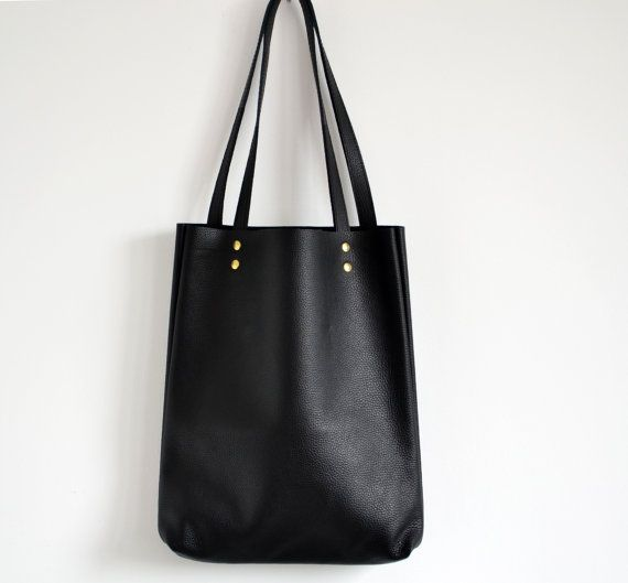 Everyday BLACK LEATHER Tote Bag Pebbled Leather Laptop by KadoBag