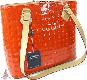 Arcadia Purse Orange Hand Bag Tote Patent Italy Genuine Real Leather | eBay