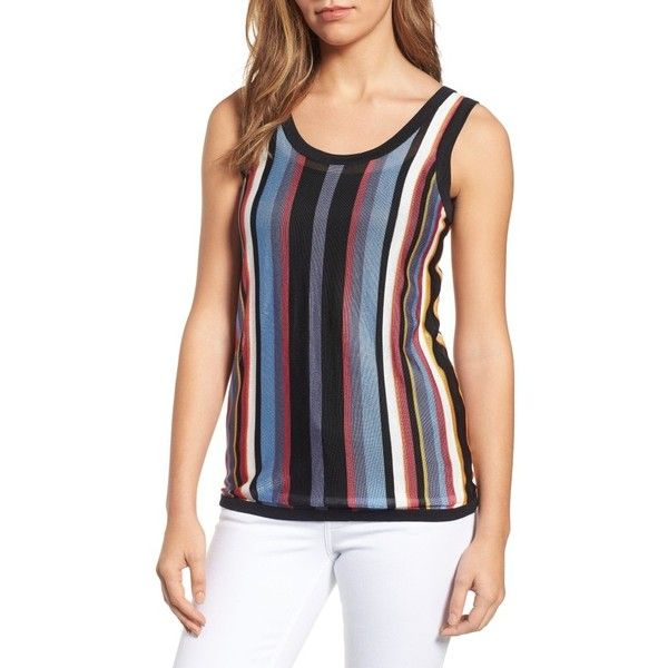 Women's Anne Klein Stripe Sweater Tank ($59) ❤ liked on Polyvore featuring tops, eton blue combo, striped tank, layering tank tops, striped tank top, blue striped top and stripe tank