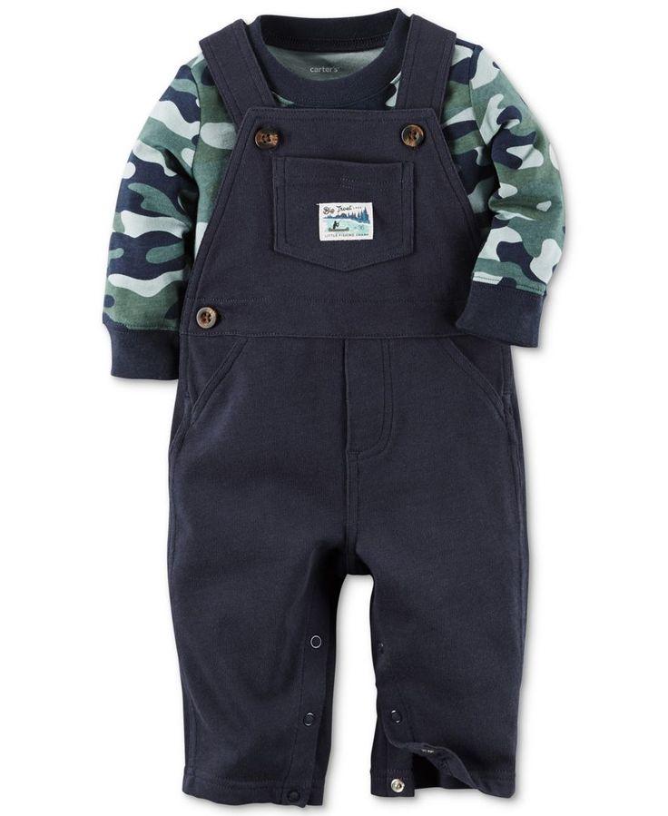 Carter's Baby Boys' 2-Piece Camo-Print Shirt & Navy Overalls Set