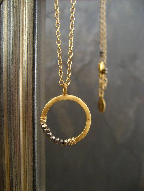 Pyrite crescent necklace