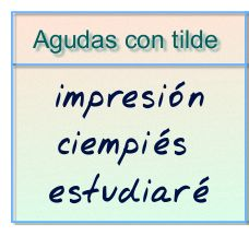 AGUDAS CON TILDE:  Estas palabras llevan tilde (acento gráfico) cuando terminan en n, s o vocal.   Ejemplos:  - jar - dín - des - ta - có - bai - ló