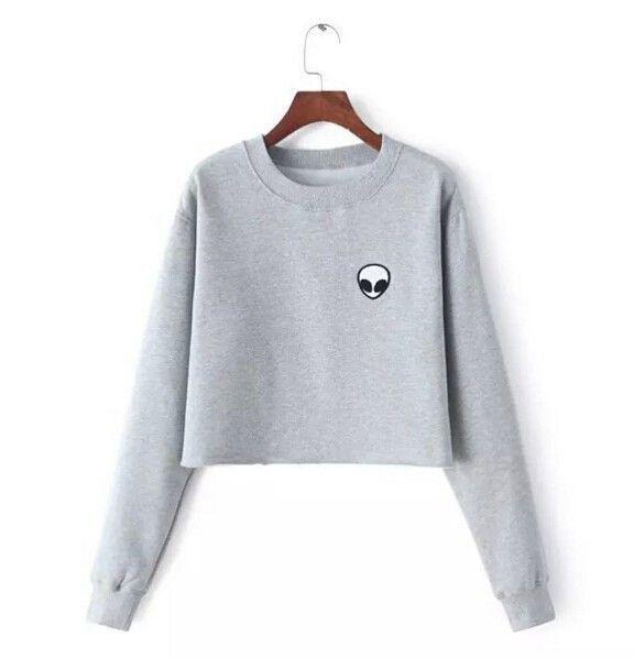 Alien Printed Long-sleeved Women Sweatshirt 2016 New Autumn Plus Velvet Hoodie Plus Size Loose Casual Short Sweatshirts Crop Top