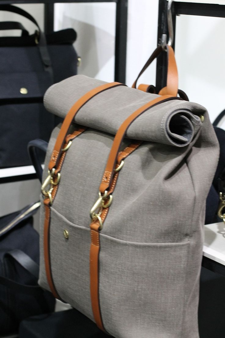 ShadeOfGrey LinenRucksack with Caramel LeatherStraps & BrassClips by Mismo.