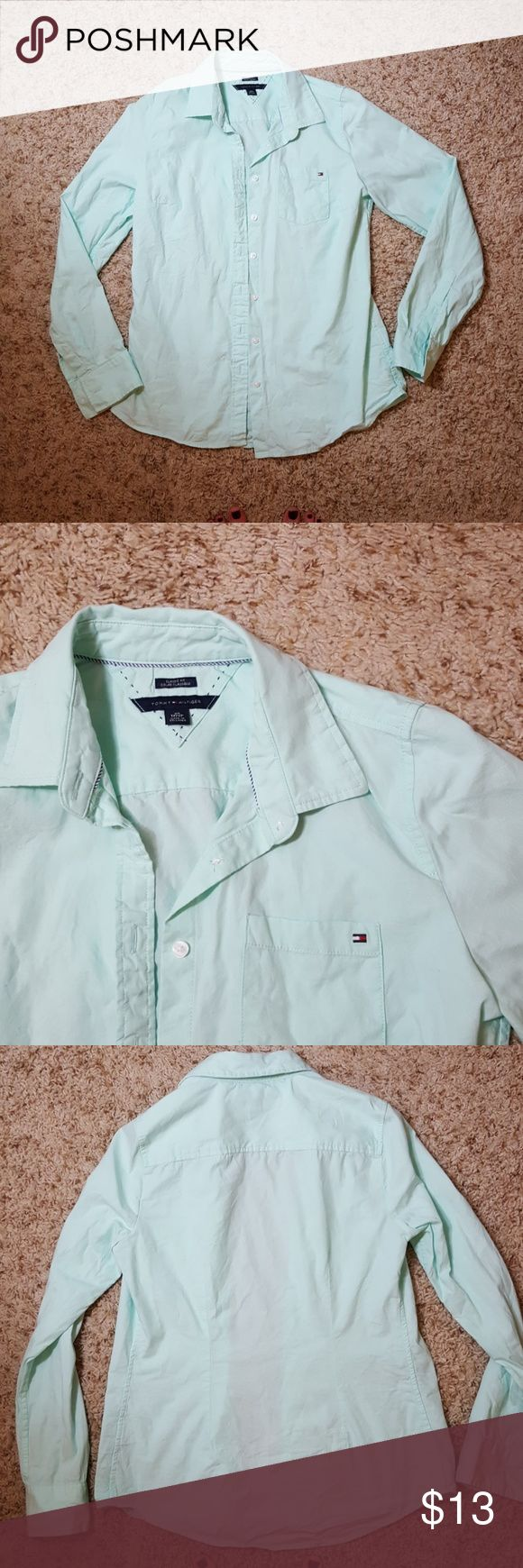 Tommy Hilfiger mint green shirt Tommy Hilfiger Oxford shirt in cute mint green color. Very high quality fabric... only worn a few times so in mint condition! Tommy Hilfiger Tops Button Down Shirts