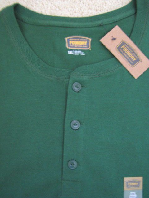 Foundry big and tall 5xl sueded henley in green ret 40 for Stafford t shirts big and tall