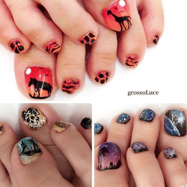 . 個性派アートのフットさん達◡̈⃝♫ . #grossoluce #nail#nails#gel#gelnails#instanails#nailart#foot#美甲#指甲#グロッソルーチェ#ネイル#ネイルアート#ネイルデザイン#ジェル#ジェルネイル#フットネイル#個性派ネイル#アート#手描き