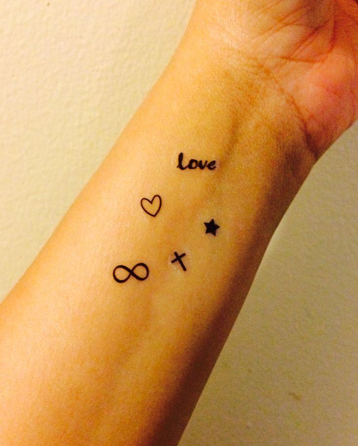 25 Temporary Tattoo Collection Cross Stars Love Heart Infinity / Fake Tattoos / Set of 25
