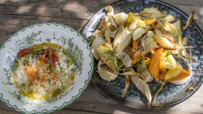 Risotto med nyskördade grönsaker.