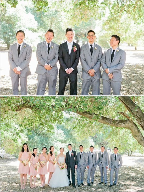 Hmm... Can't decide how I feel about the contrast between the groom and groomsmen suits
