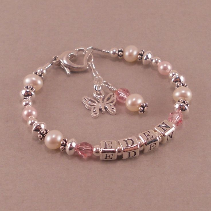 Childs Name Bracelet, White Pearls, Birthstone, Personalized, toddler, little girls jewelry, baptism, baby girl, pink, butterfly.