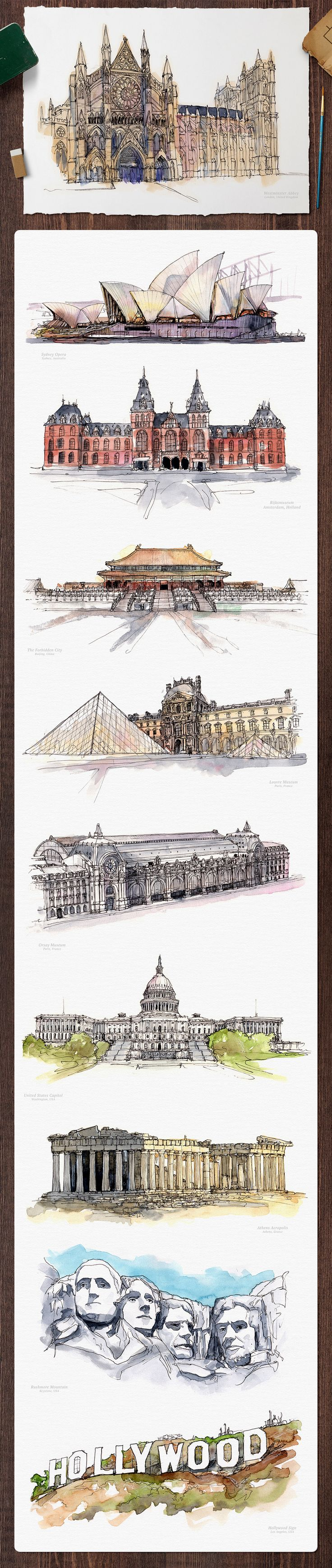 Watercolor Monument Paintings - Illustrations - 5