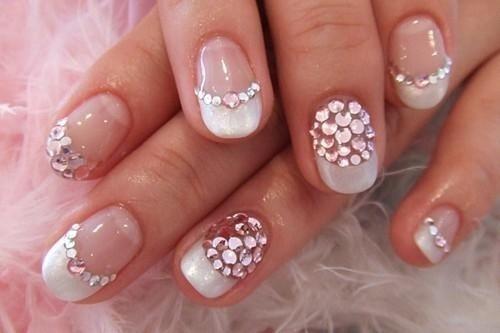 Stunning Nails - pink rhinestone glitter sparkle french tip.