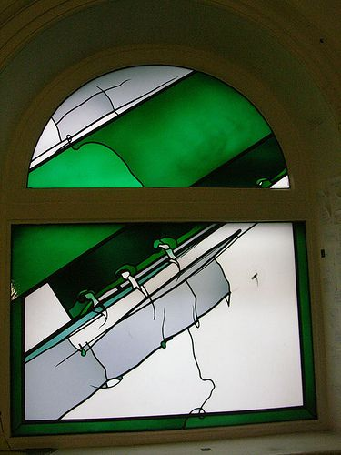 Johannes Schreiter's window to commemorate Howard Martin, who started the stained glass course at Swansea Art College in 1935.