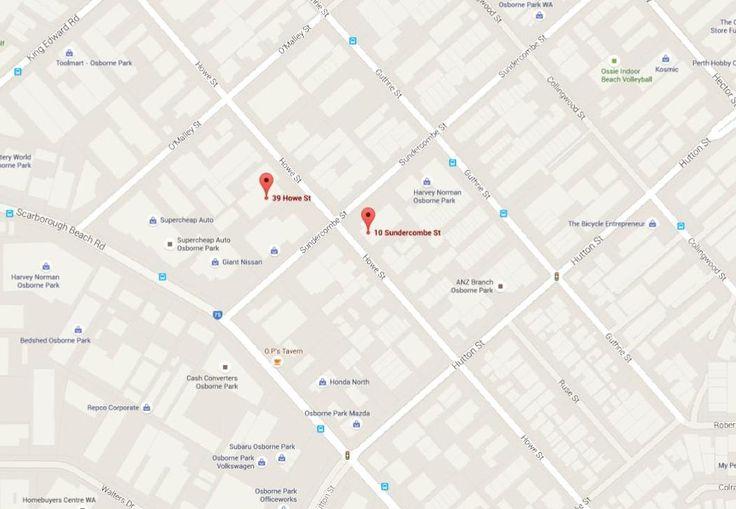 Map / Location: GALVIN HARDWARE - 39 Howe Street, Osborne Park WA 6017 GALVIN DESIGN GALLERY - 10 Sundercombe Street, Osborne Park WA 6017