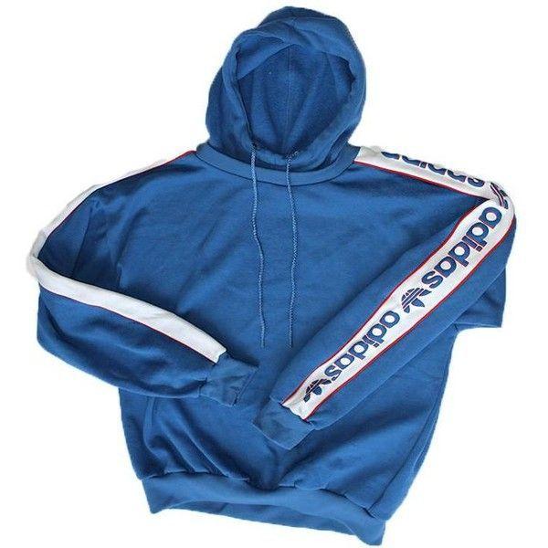 Vintage 90's ADIDAS Sleeve Logo Hoodie ($65) ❤ liked on Polyvore featuring tops, hoodies, long sleeve tops, blue hoodies, vintage hooded sweatshirt, logo hoodie and logo hoodies