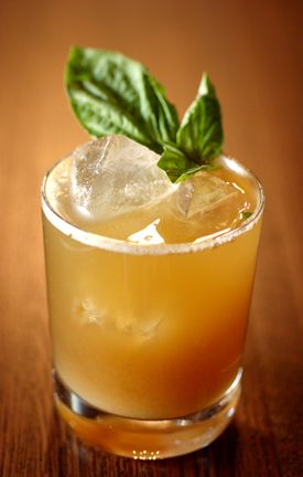 Bufala Negra cocktail - Buffalo Trace bourbon, ginger beer, basil, brown sugar and balsamic vinegar. This is pretty much my favorite cocktail of all time. I keep a supply of balsamic simple syrup on hand so I can make it whenever I want.