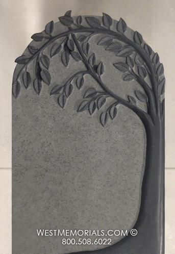 Castle Tree with a Vase Design Headstone in Black Granite