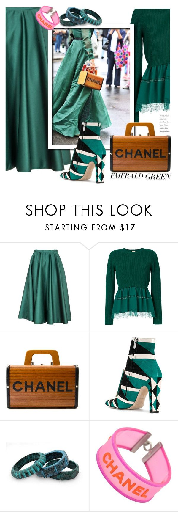 """""""Emerald City: Pops of Green"""" by ewa-naukowicz-wojcik ❤ liked on Polyvore featuring N°21, Chanel, Sergio Rossi, NOVICA and emeraldgreen"""