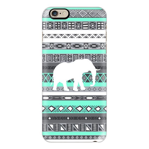 iPhone 6 Plus/6/5/5s/5c Case - Mint Tiffany Aztec Pattern Elephant... ($40) ❤ liked on Polyvore
