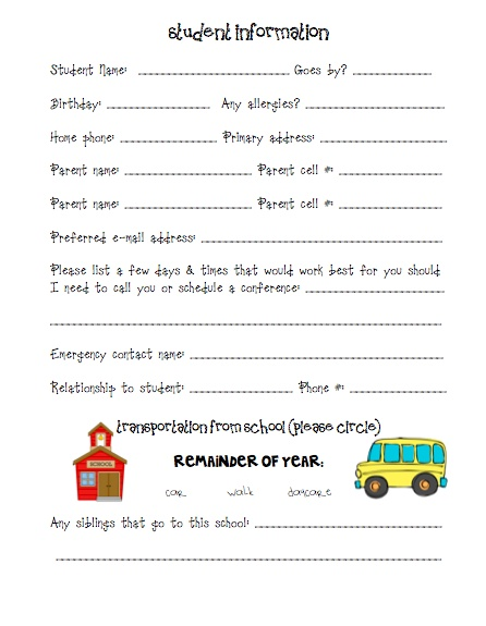 Best 25+ Student info sheet ideas on Pinterest 1st year teachers - information sheet template word