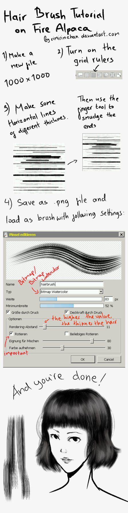Hair Brush/ Flat Brush Tutorial on FireAlpaca by rimirinchan.deviantart.com on @DeviantArt