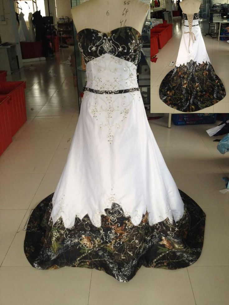 2015 cheap camo wedding dress real picture sweetheart embroidery with beading empire a line chapel train lace up back camo evening dress